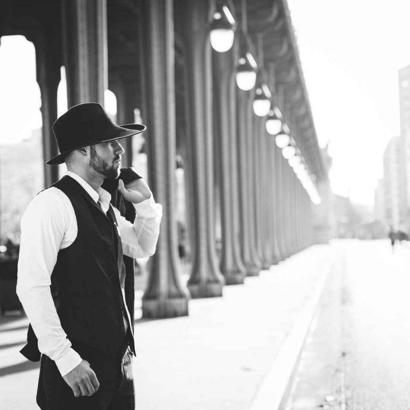 Chapeau homme rétro Clyde noir original Trocadéro Paris
